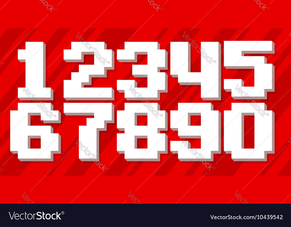 White pixel number set on red background