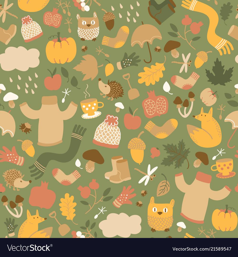 Autumn green seamless pattern