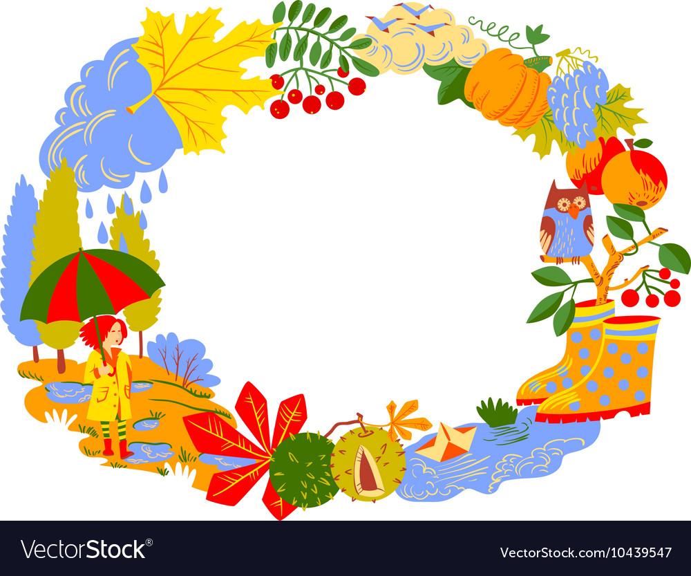 Fall Season Cartoon Wreath Royalty Free Vector Image