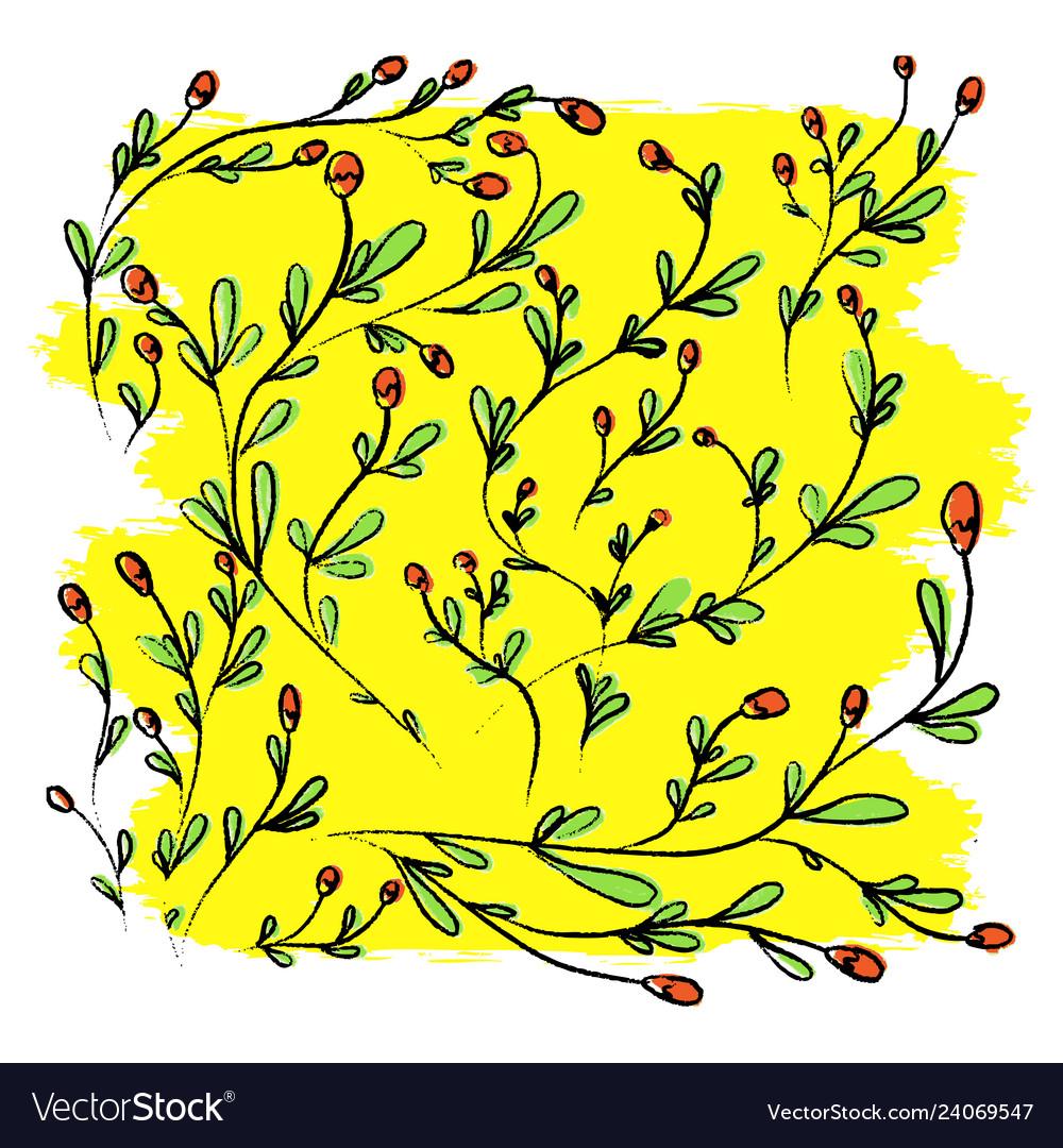 Hand drawn wild flowers on