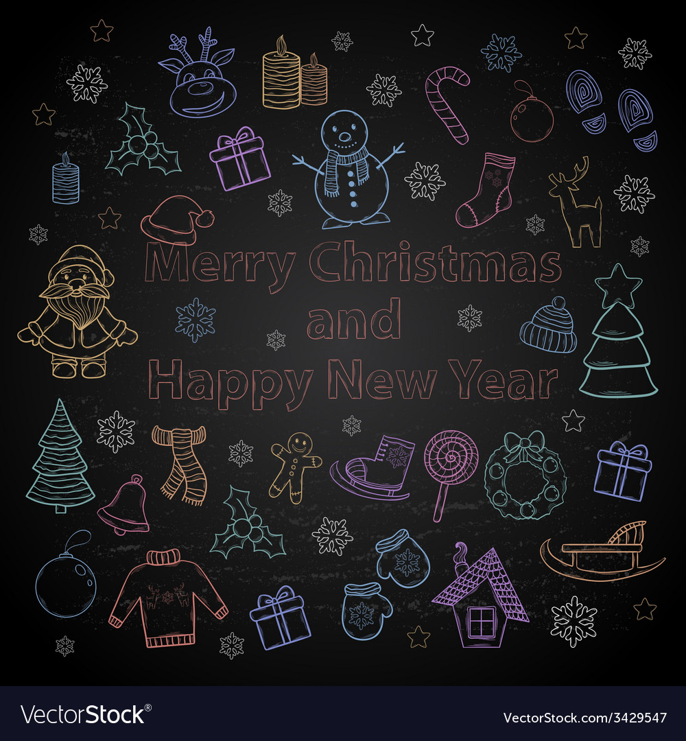 Happy New Year and Merry Christmas color set on a