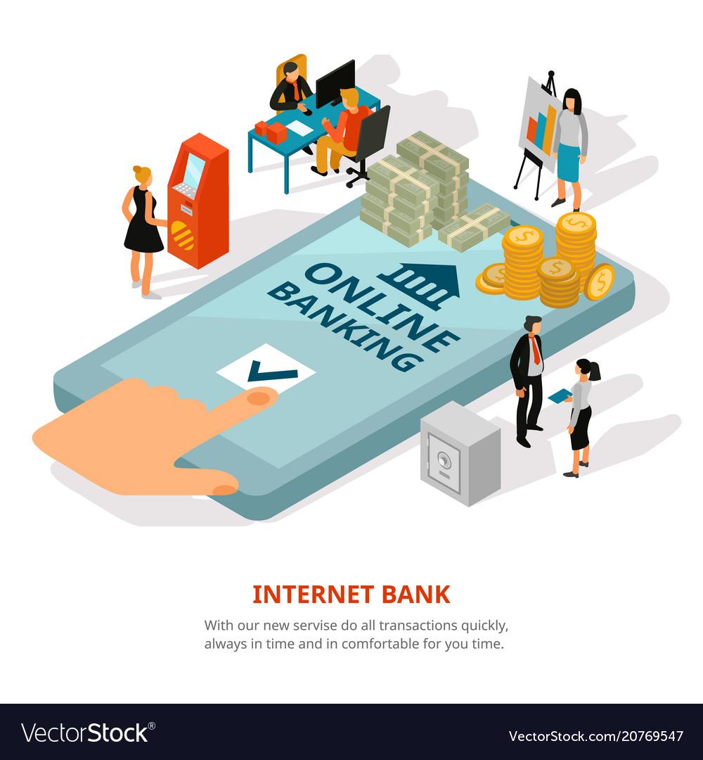 Online banking isometric banner vector image