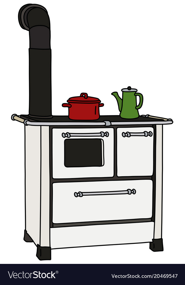 Delicieux The Old Kitchen Stove Vector Image