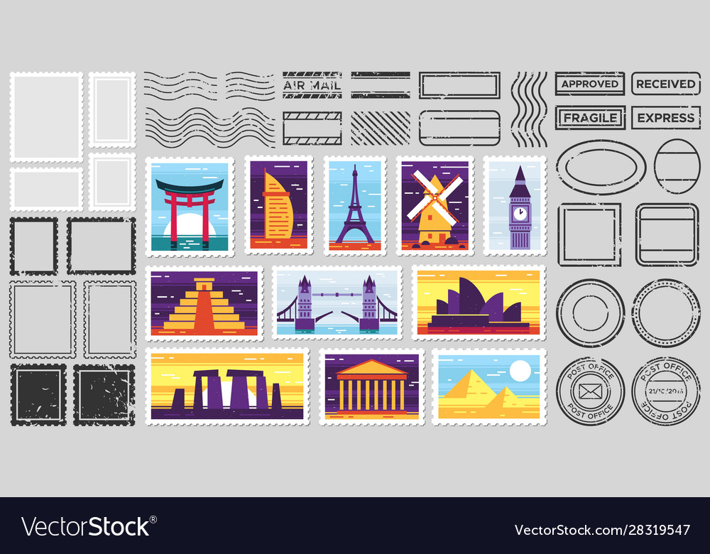 Traveler mail post stamp city attractions