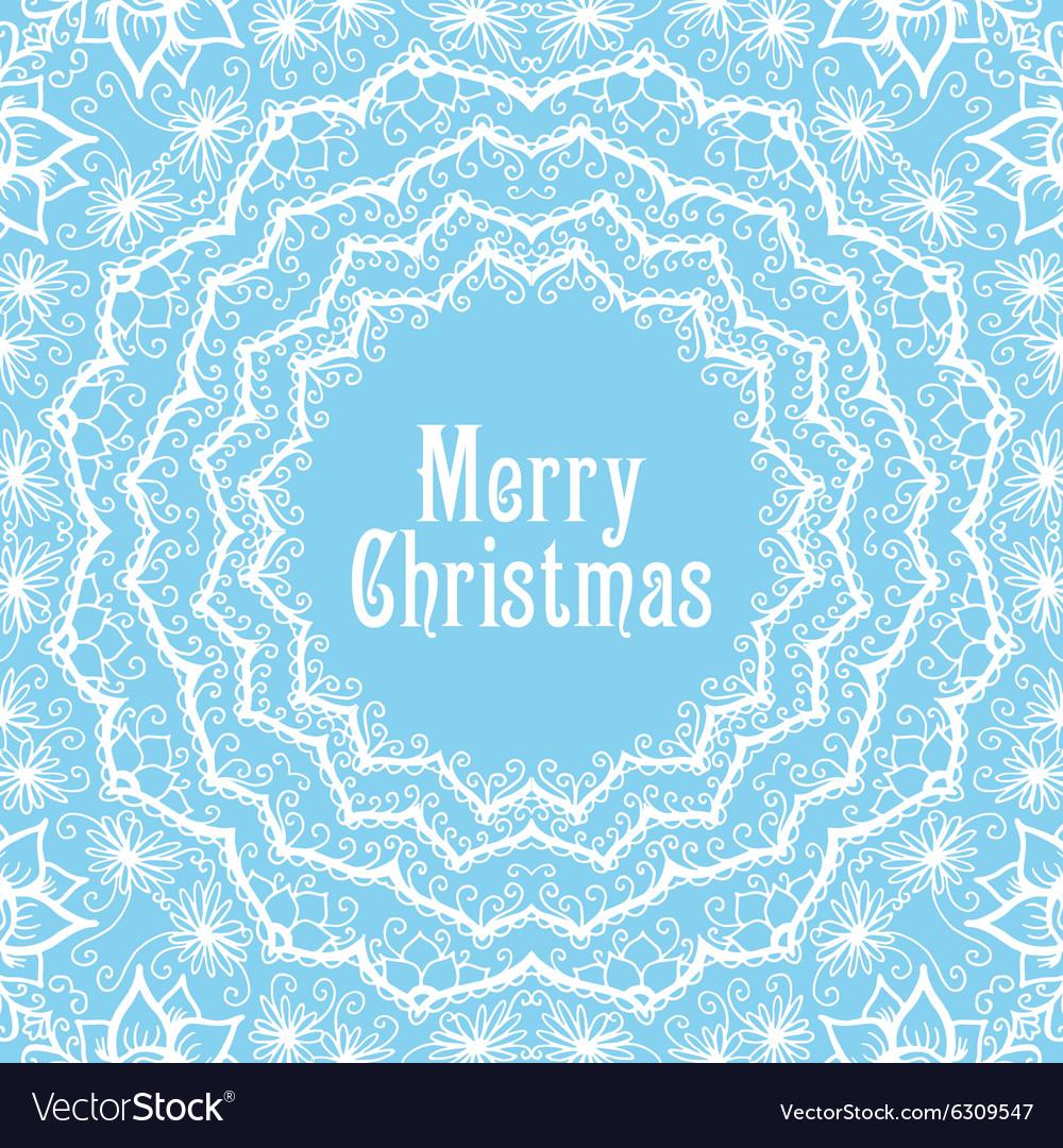 Winter background in beautiful mandala snowflake