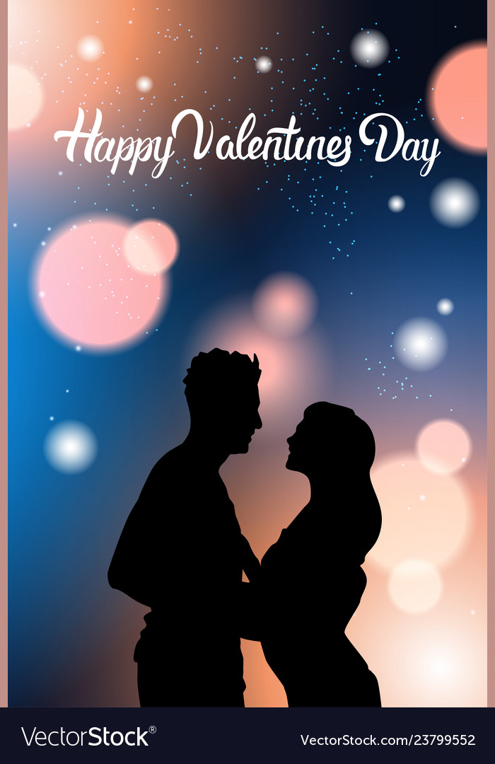 Beautiful couple silhouette holding hands over