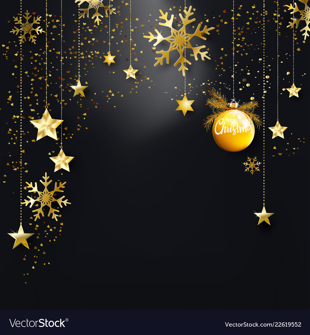 Black christmas background with gold glitter
