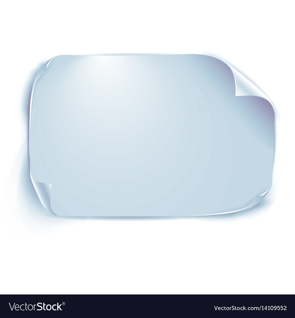 Blue sheet of paper with shadow isolated on white vector image