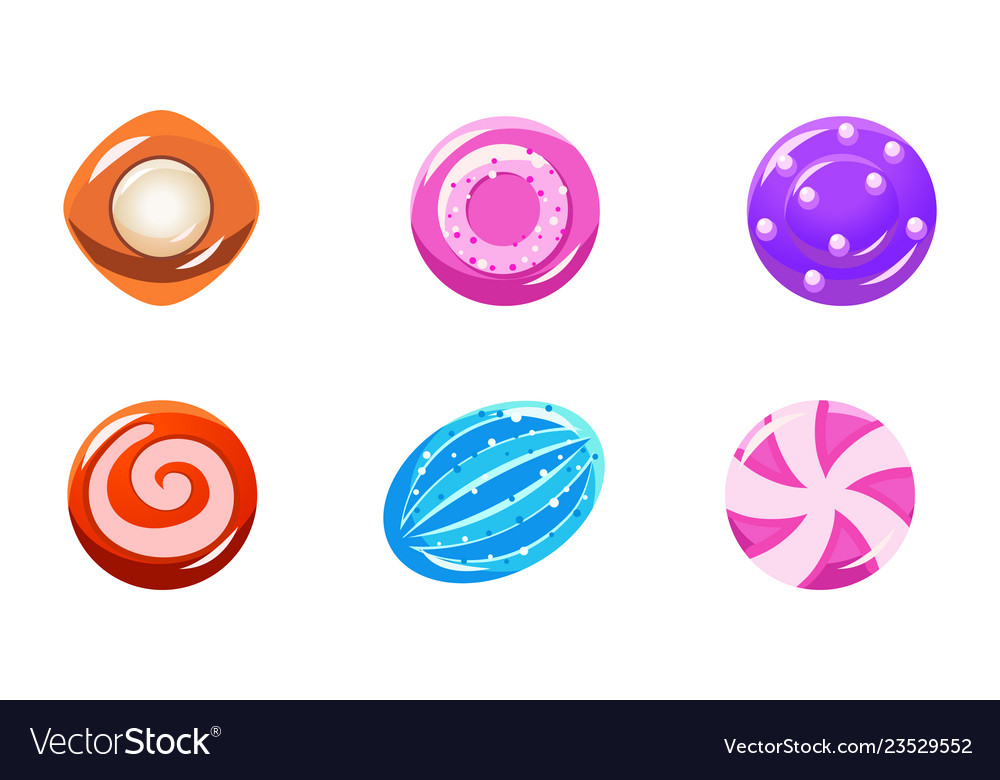 Collection colorful glossy candies sweets of vector
