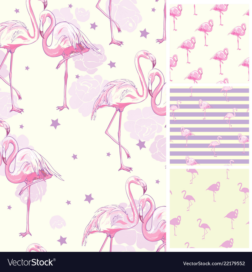 Cute set of pink flamingo tropical vibes seamless