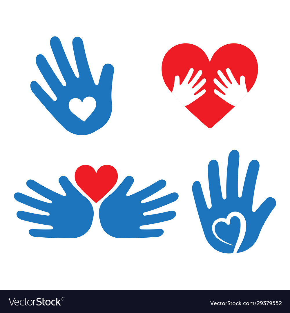 Helping hand with heart shape