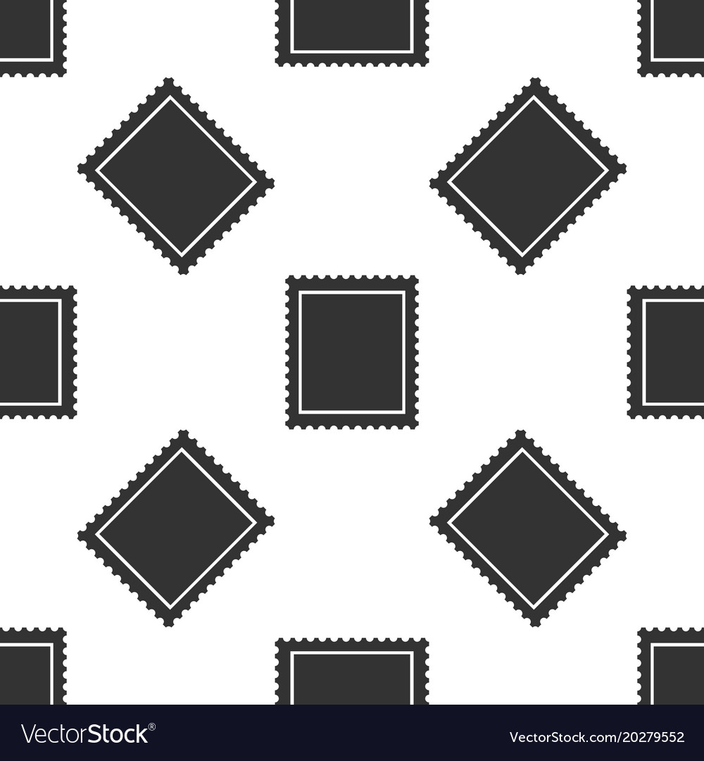 Postal stamp seamless pattern on white background