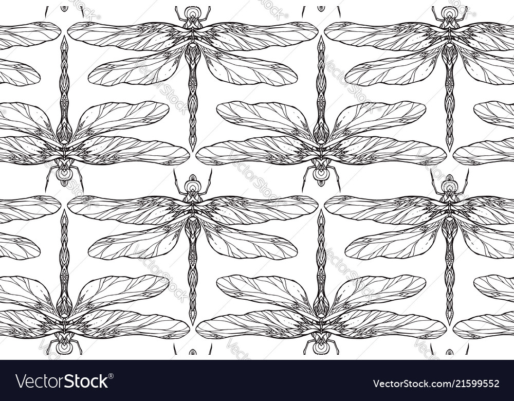 Seamless black and white texture with dragonfly