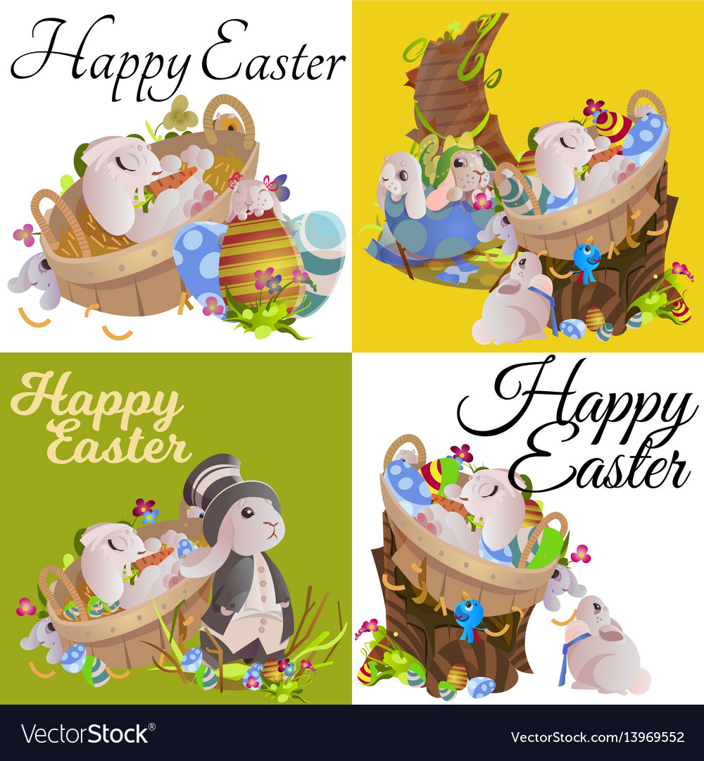 Set of easter egg hunt funny bunny with basket
