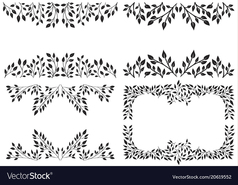 Set of leafy background