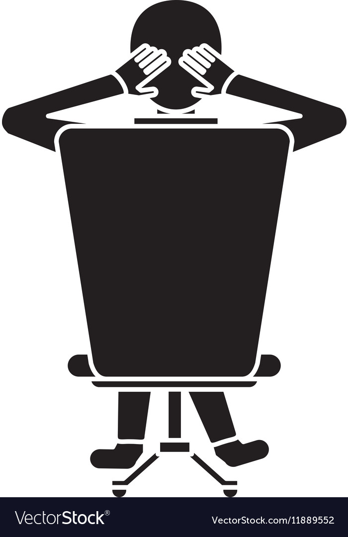 Silhouette man sitting on back chair relaxing vector image