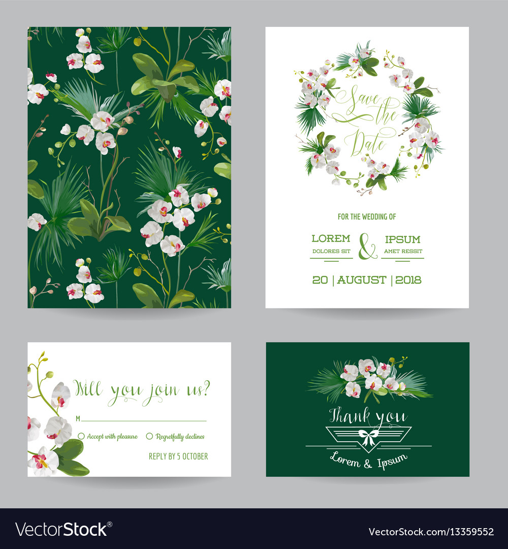 Tropical orchid flowers and leaves wedding vector image