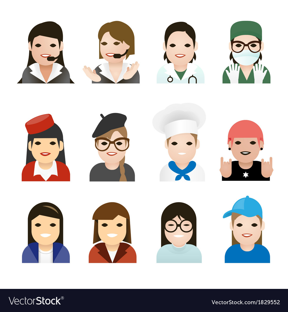User woman jobs icons