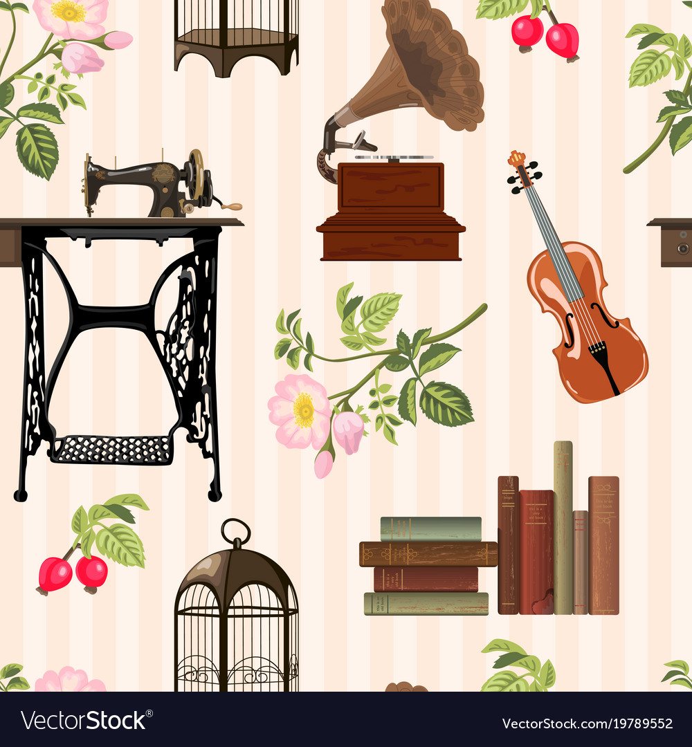 Vintage objects pattern