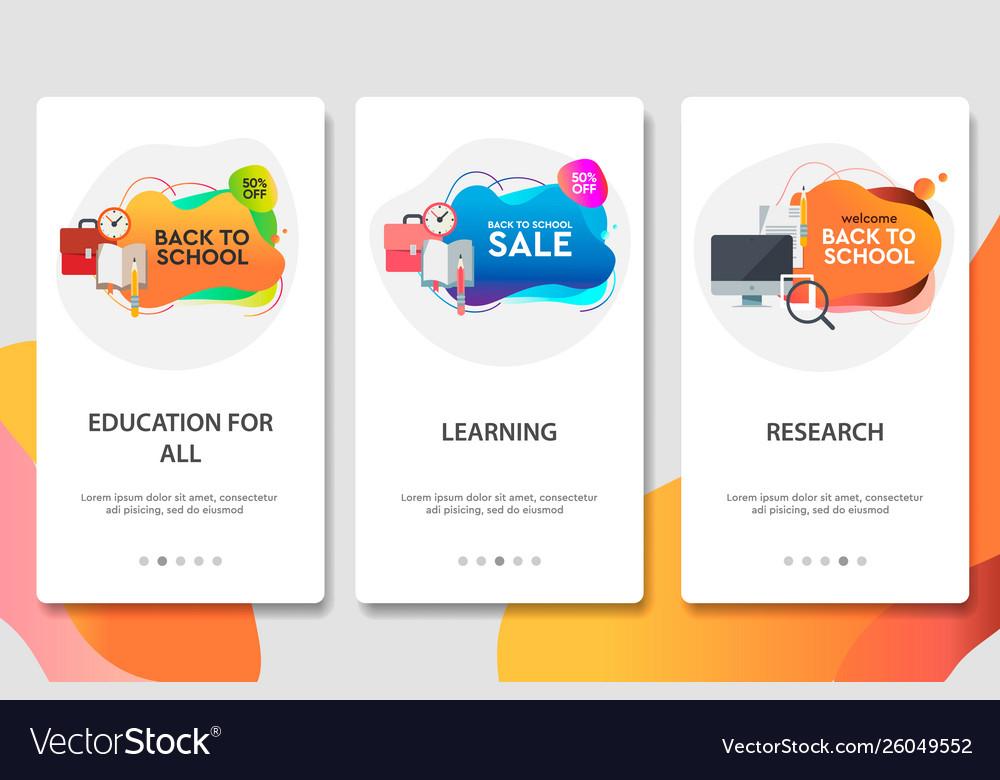 Web site onboarding screens online education