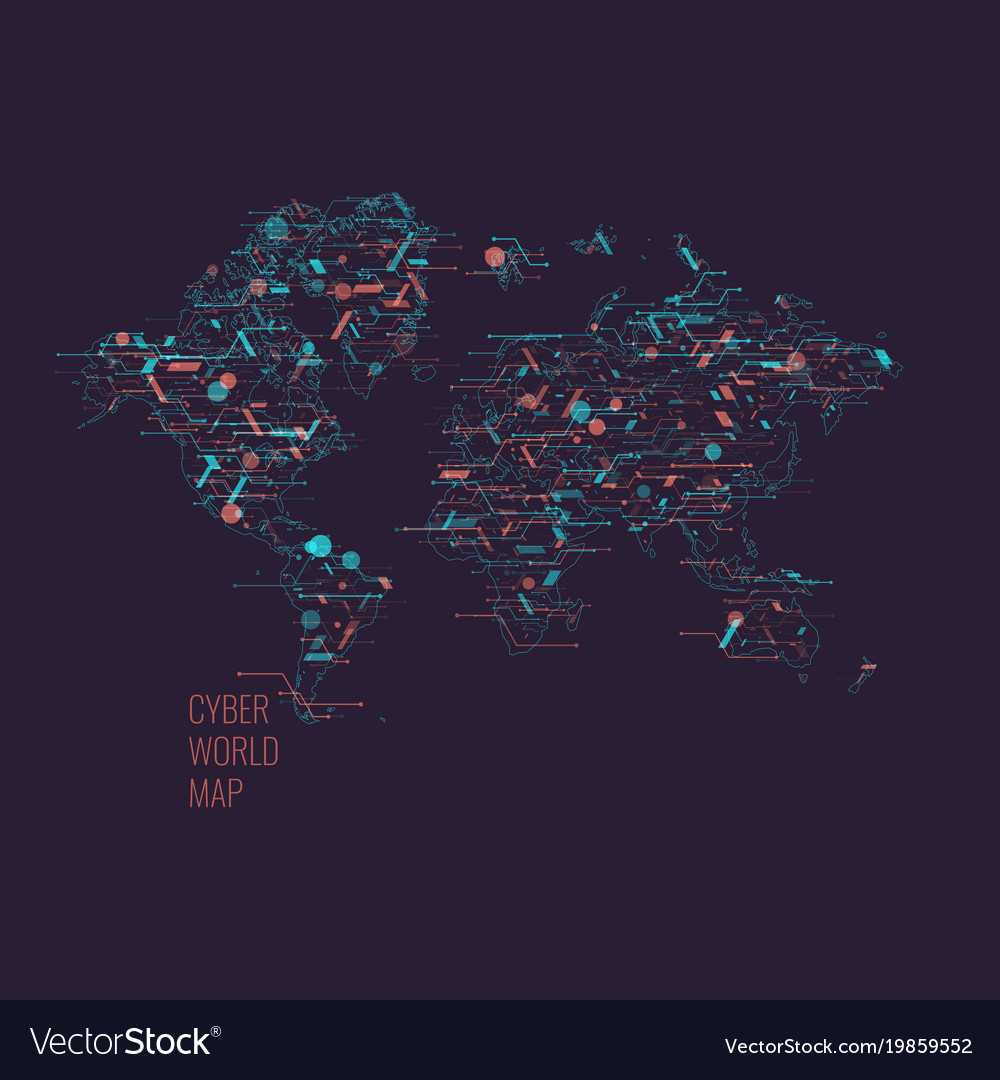 World map on a dark background global digital vector image gumiabroncs Choice Image