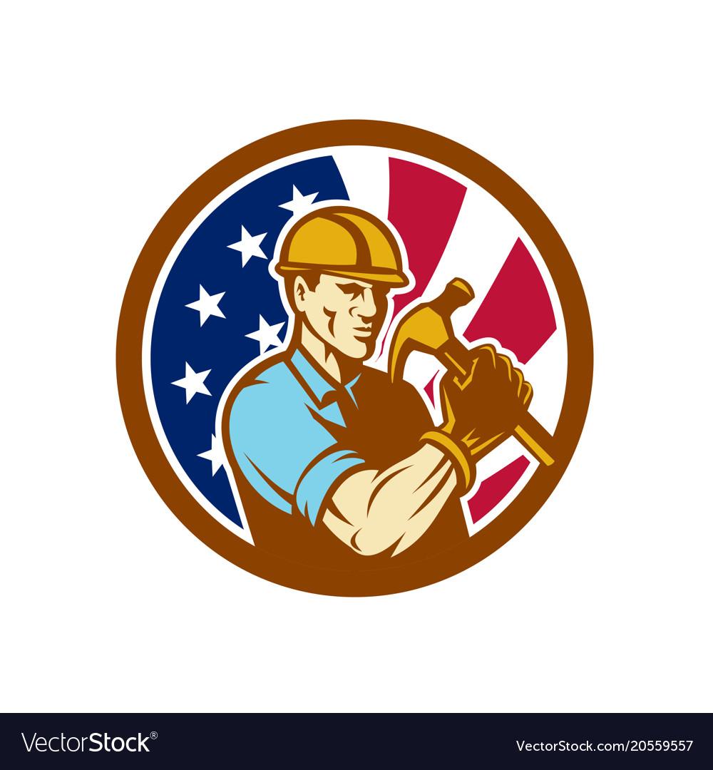 American handyman usa flag icon vector image