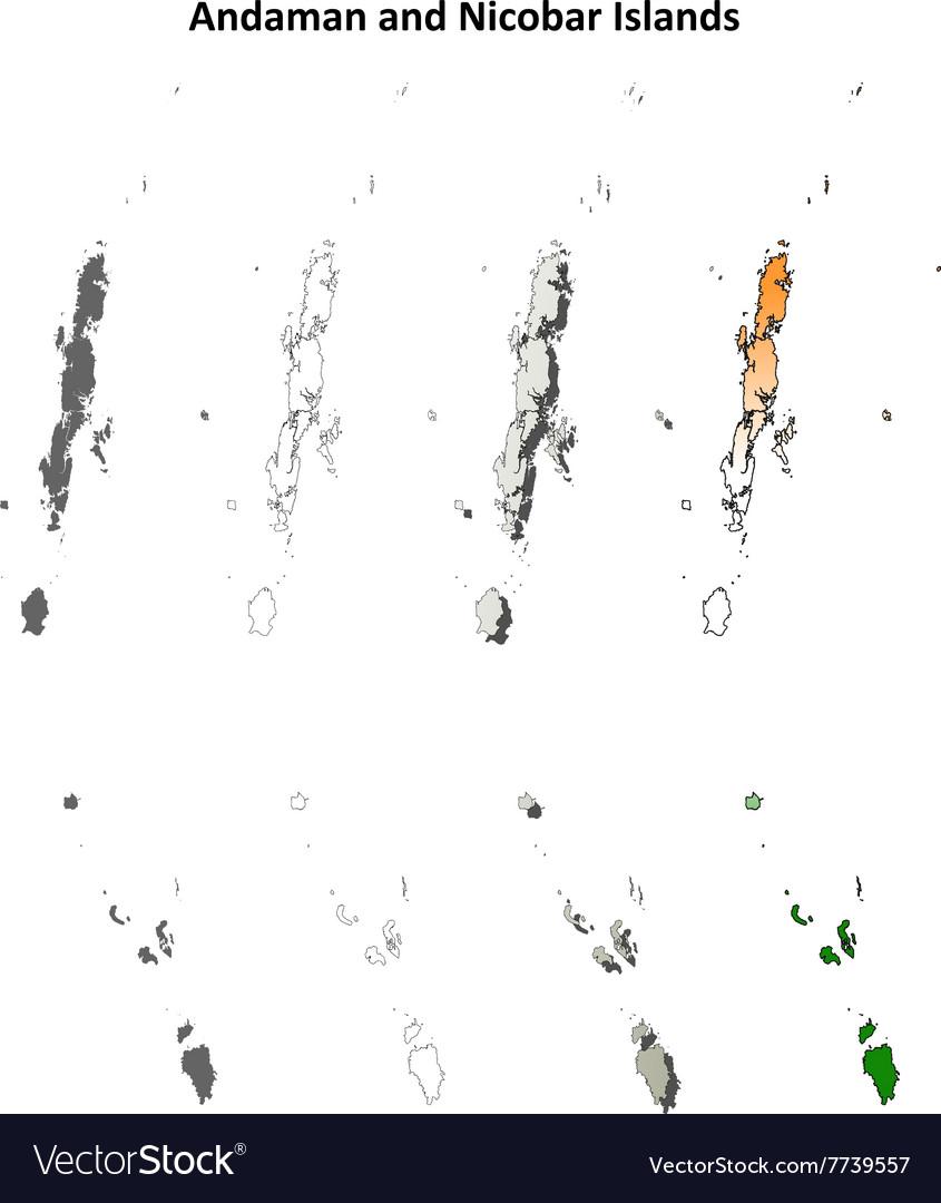 Andaman and Nicobar Islands blank outline map set vector image