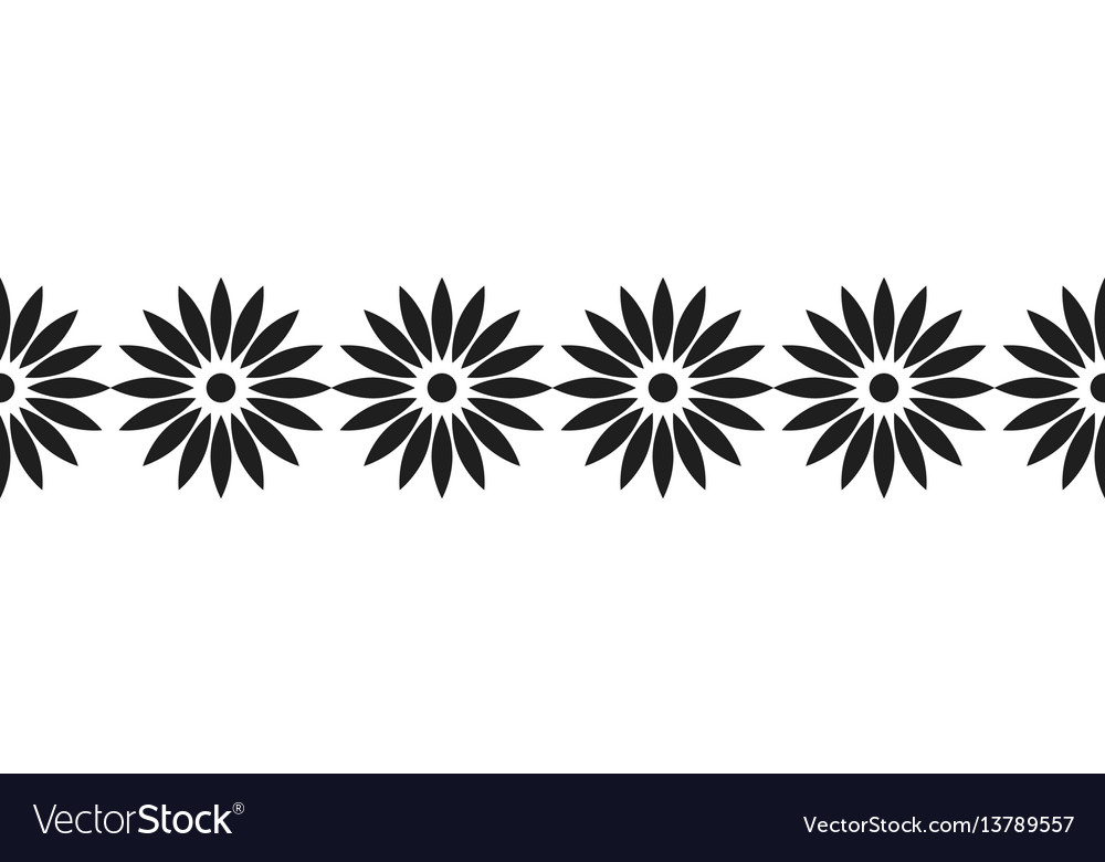 Border of black flowers for decoration