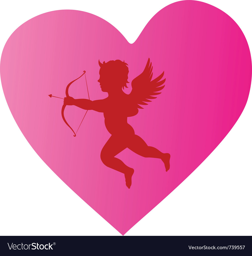 Cupid silhouette 3 vector image