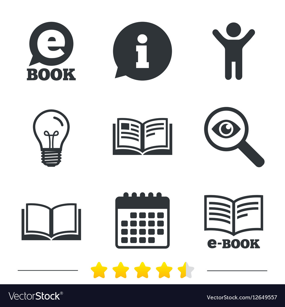 Electronic Book Signs E Book Symbols Royalty Free Vector