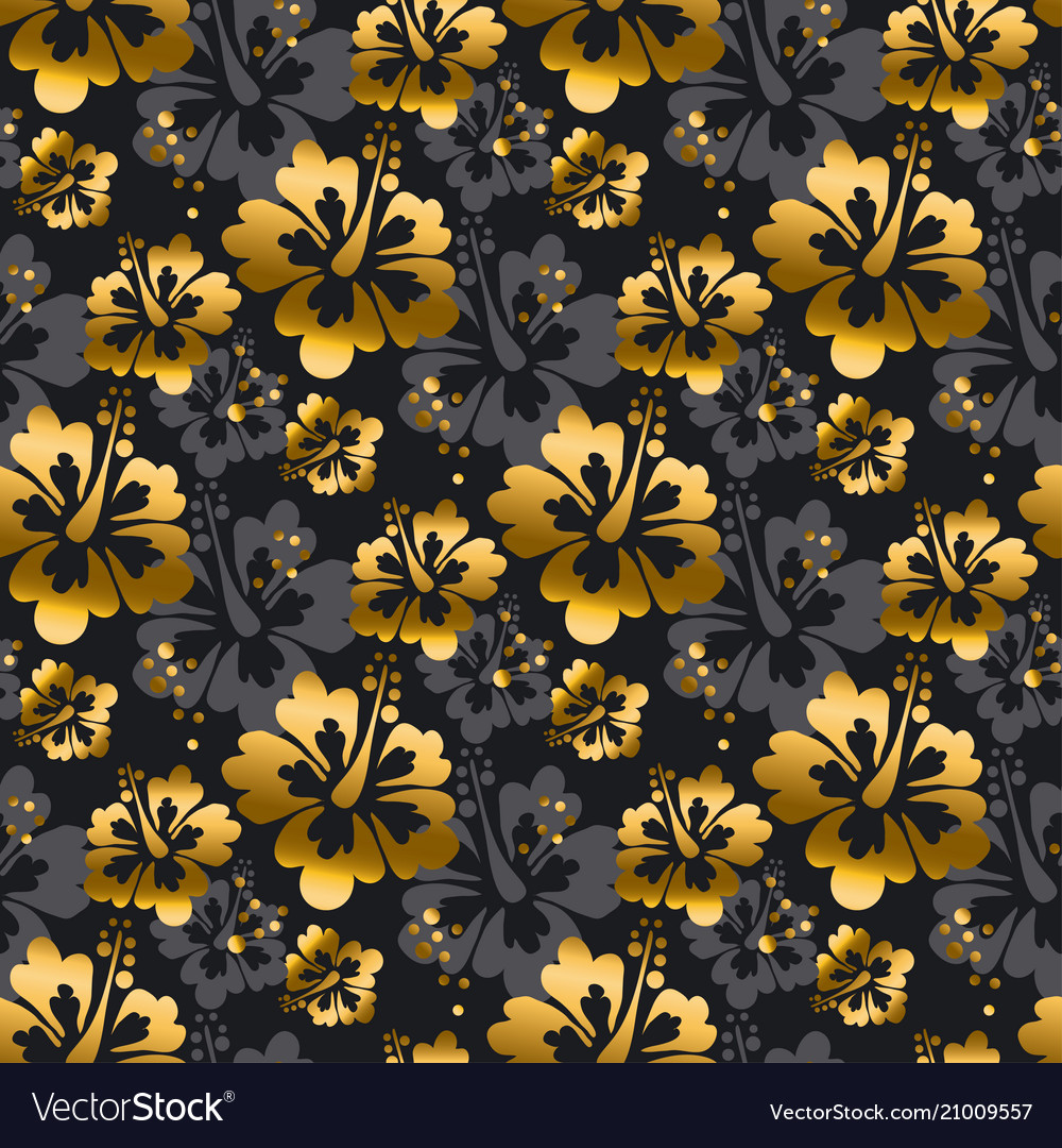 Gold and black flowers seamless pattern vector image