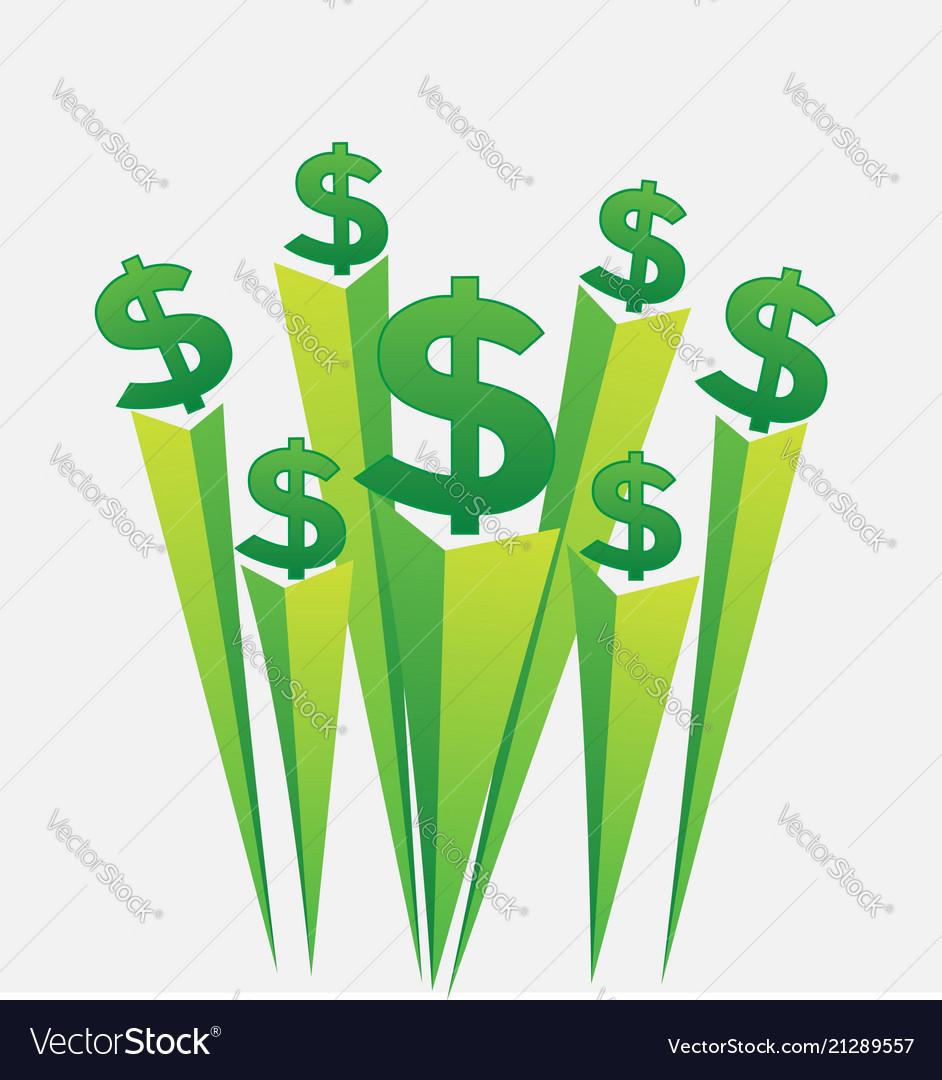 Green Money Dollar Signs Icon Vector Image