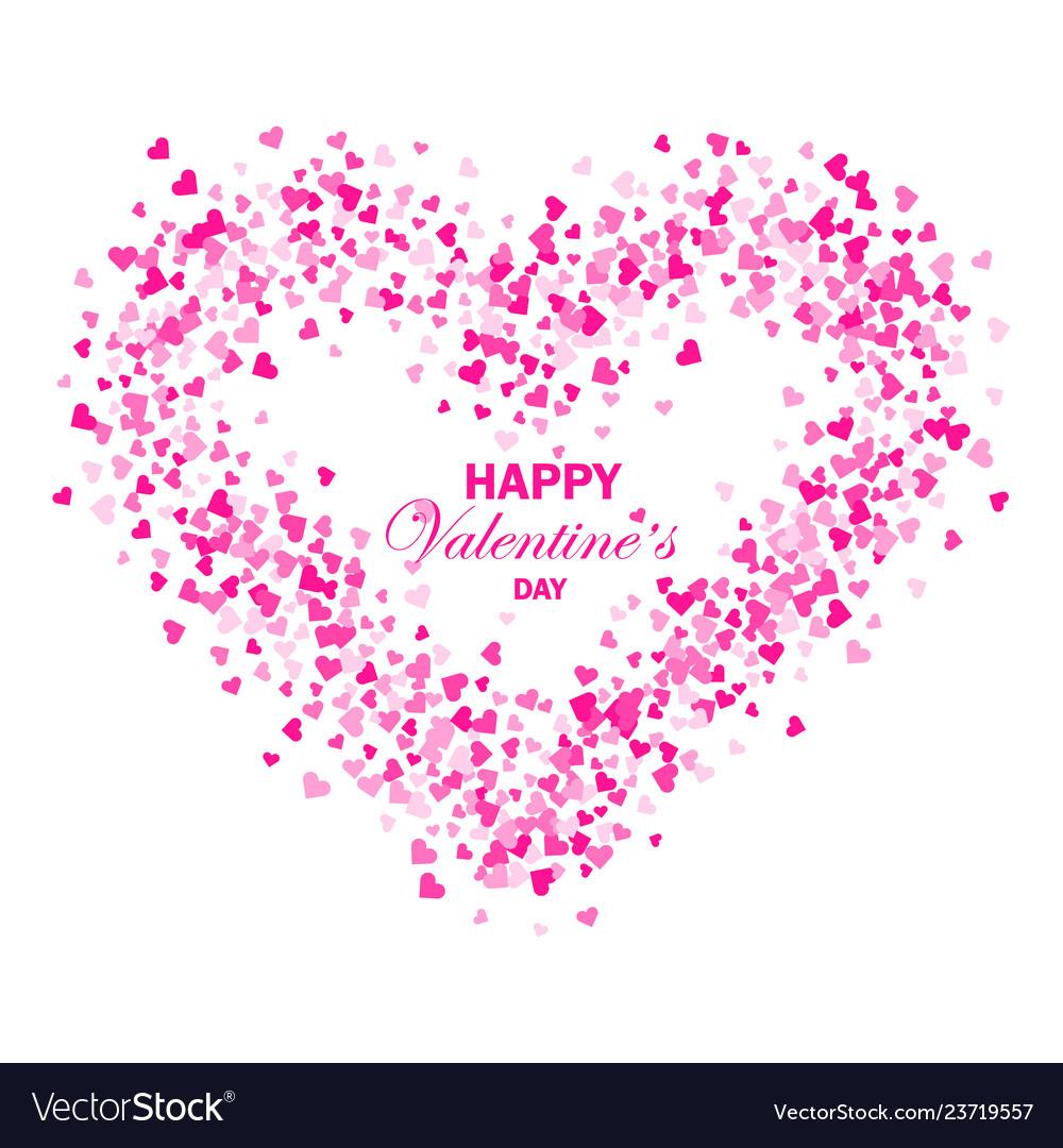 Heart shape pink confetti splash with white heart