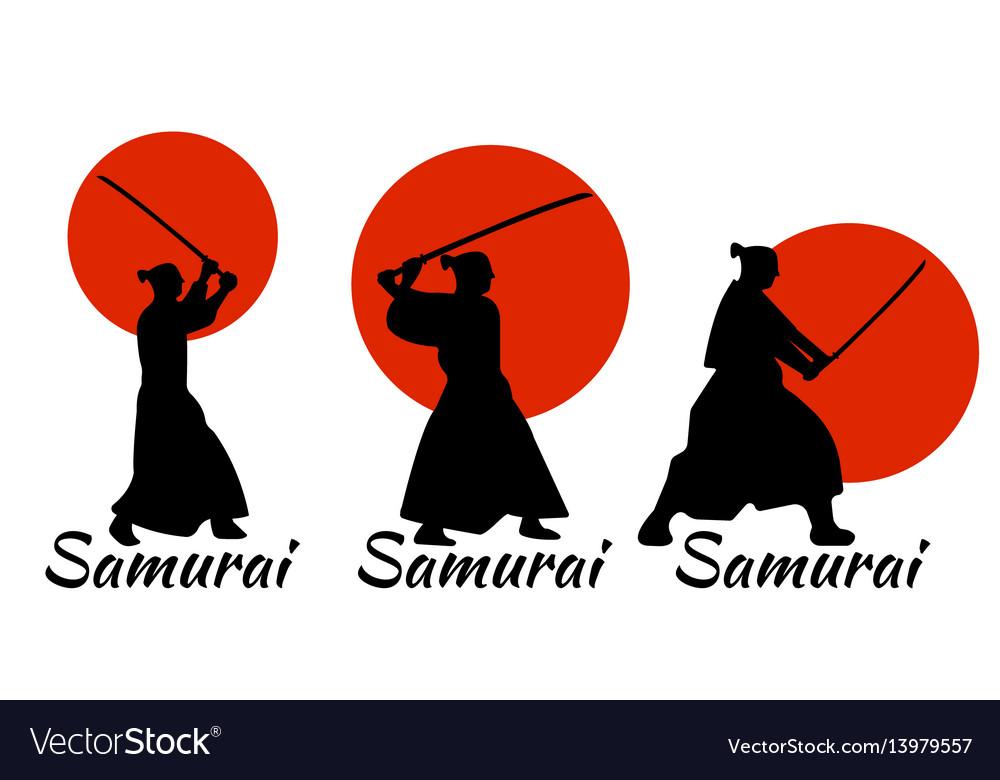 Japanese samurai warriors silhouette katana sword
