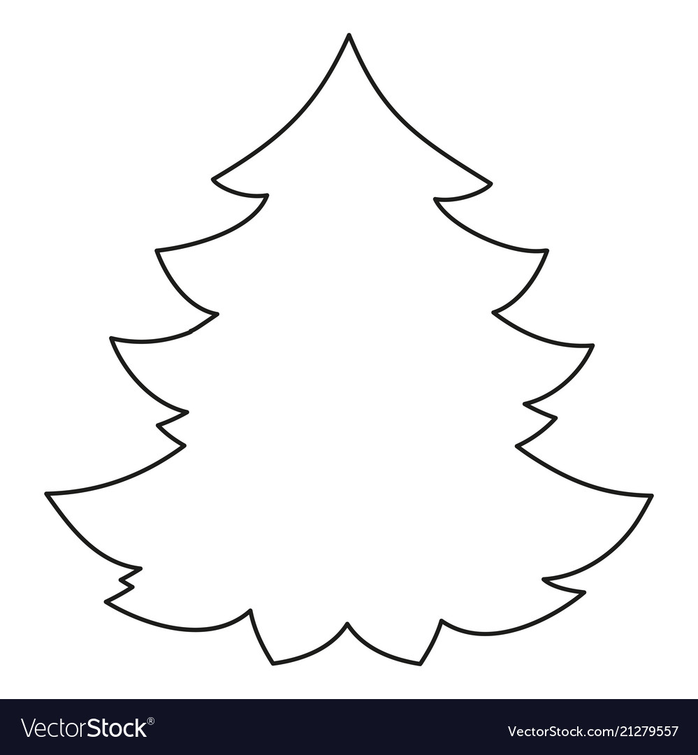 Line Art Black And White Christmas Tree Royalty Free Vector