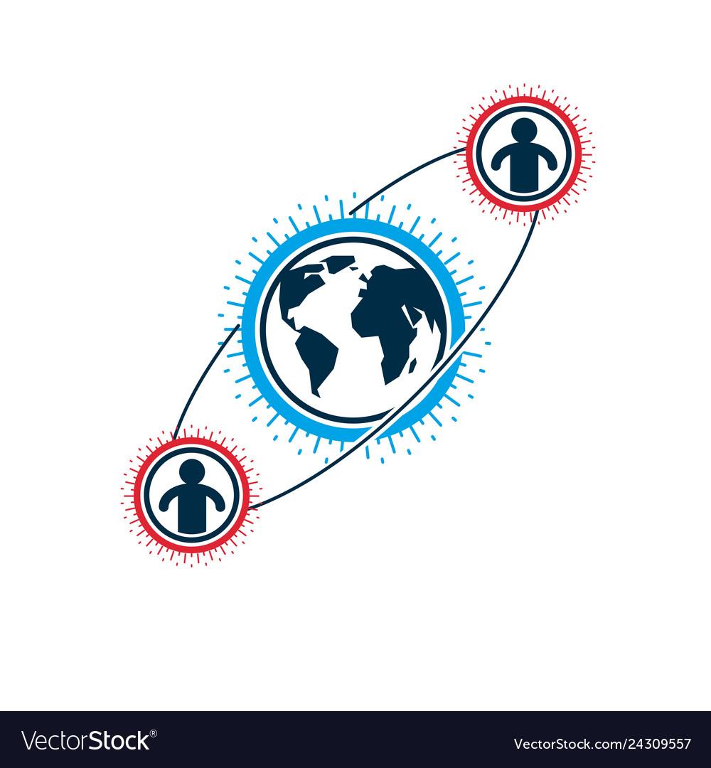 Mankind and person conceptual logo unique symbol