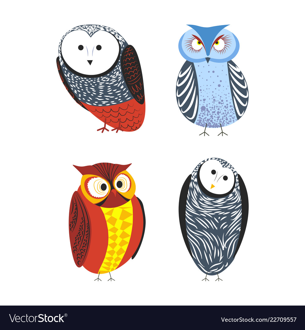 Owls cartoon kid funny characters with feather