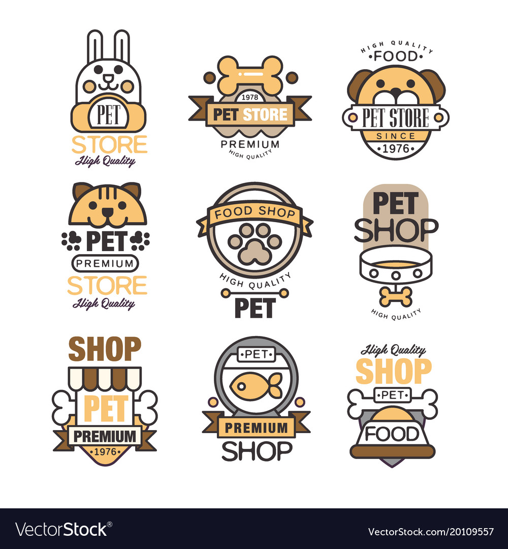 Pet store logo set premium shop since 1976 vector image