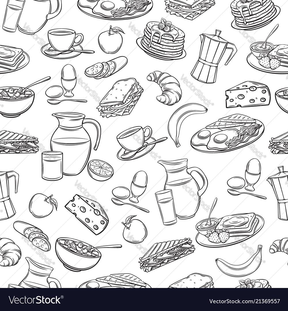 Seamless pattern hand drawn breakfast