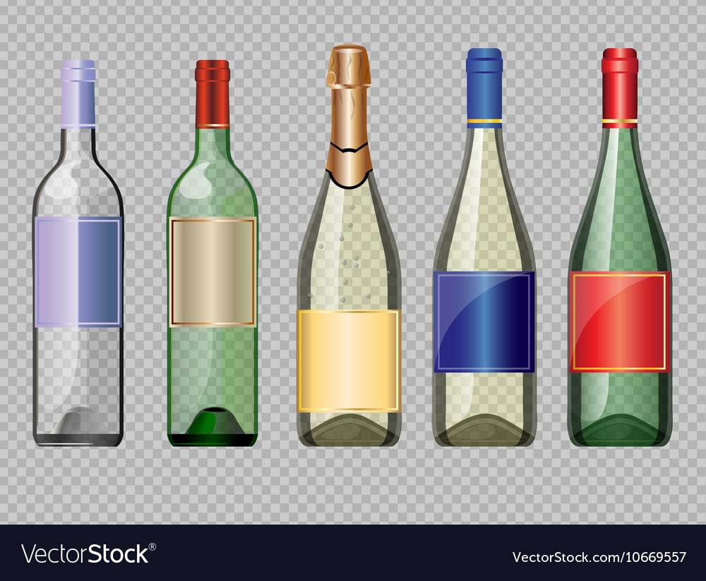 Set of colored transparent glass alcohol