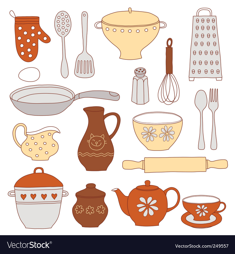 Tableware and kitchen tools vector image