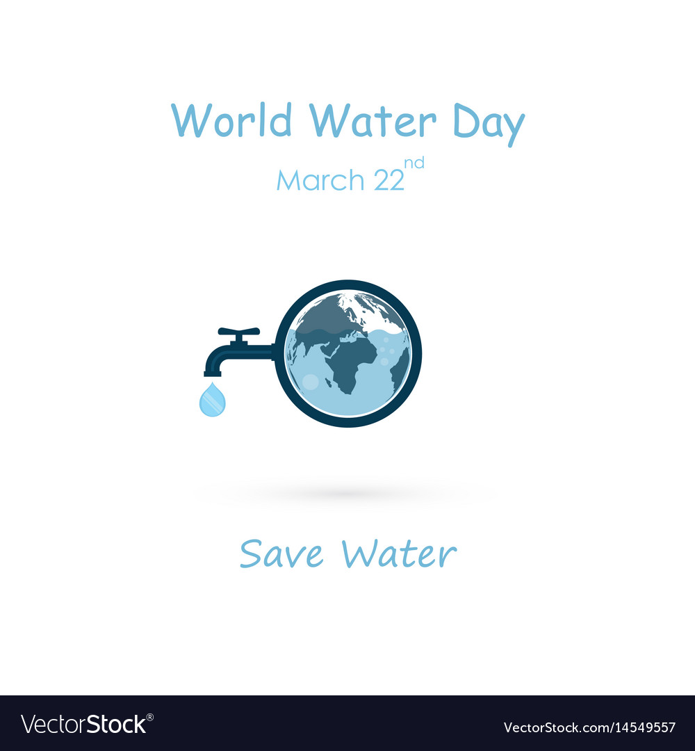 Water drop and water tap icon with globe icon vector image