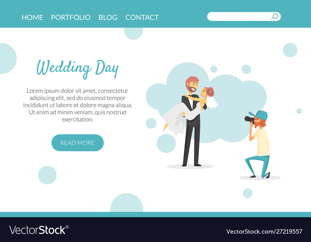 Wedding day landing page website or mobile app