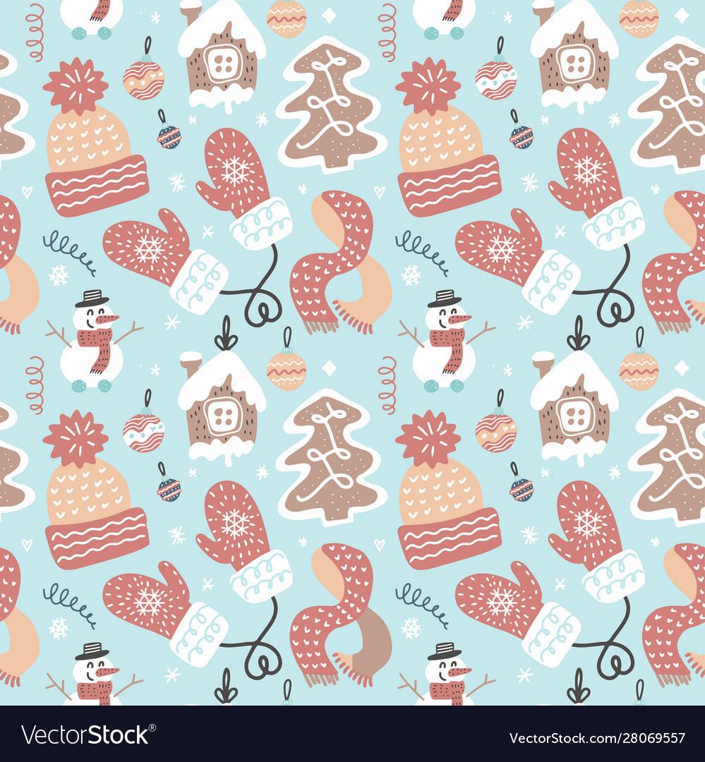 Winter fun seamless pattern traditional