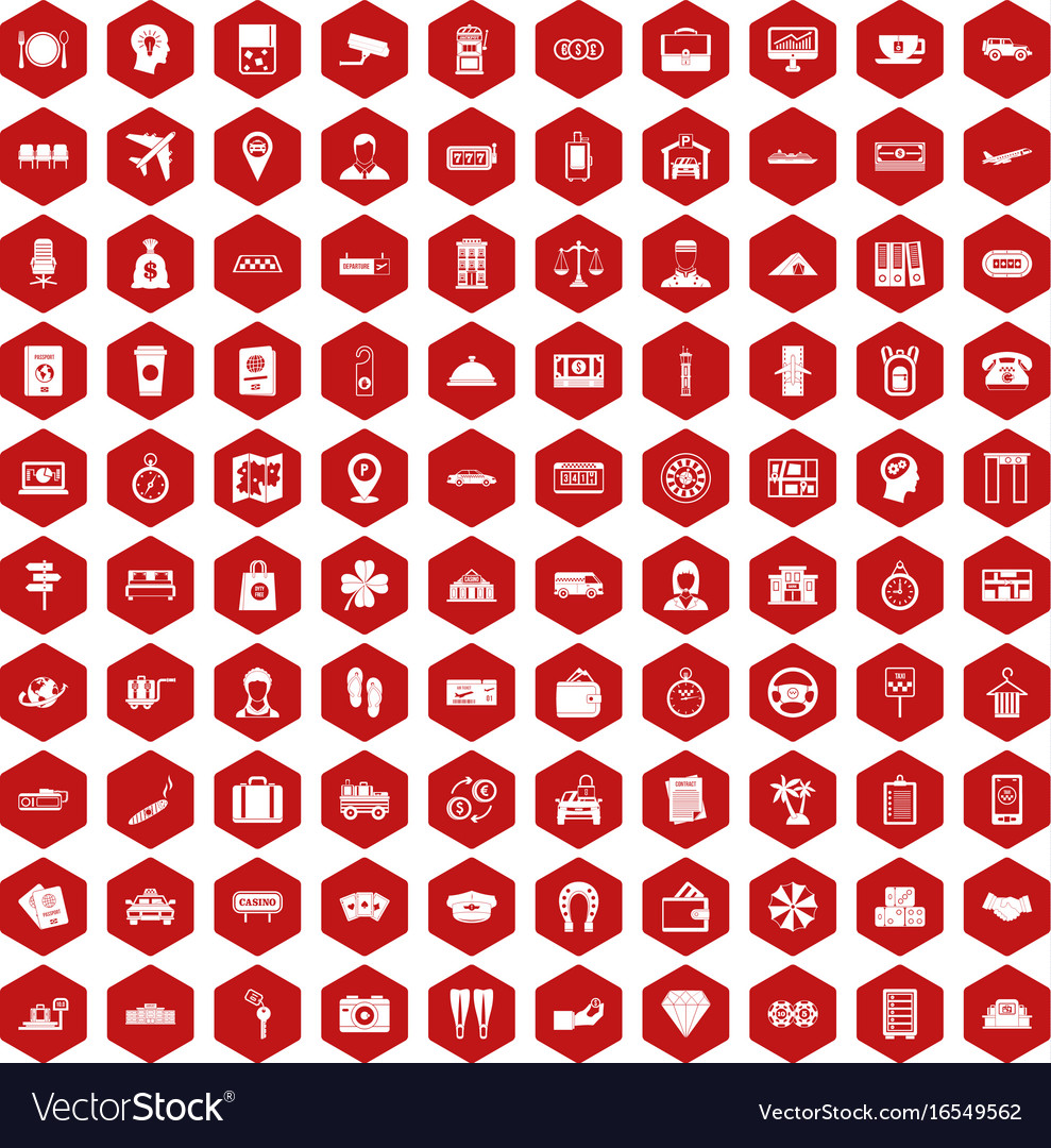 100 paying money icons hexagon red