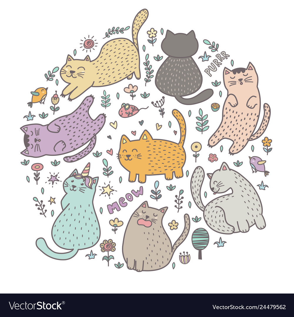 Circle shape print with cute cats