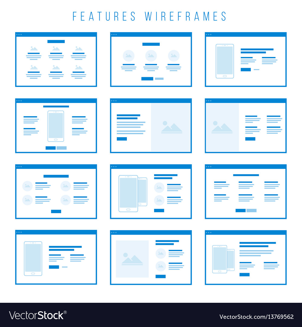 Features wireframe components for prototypes