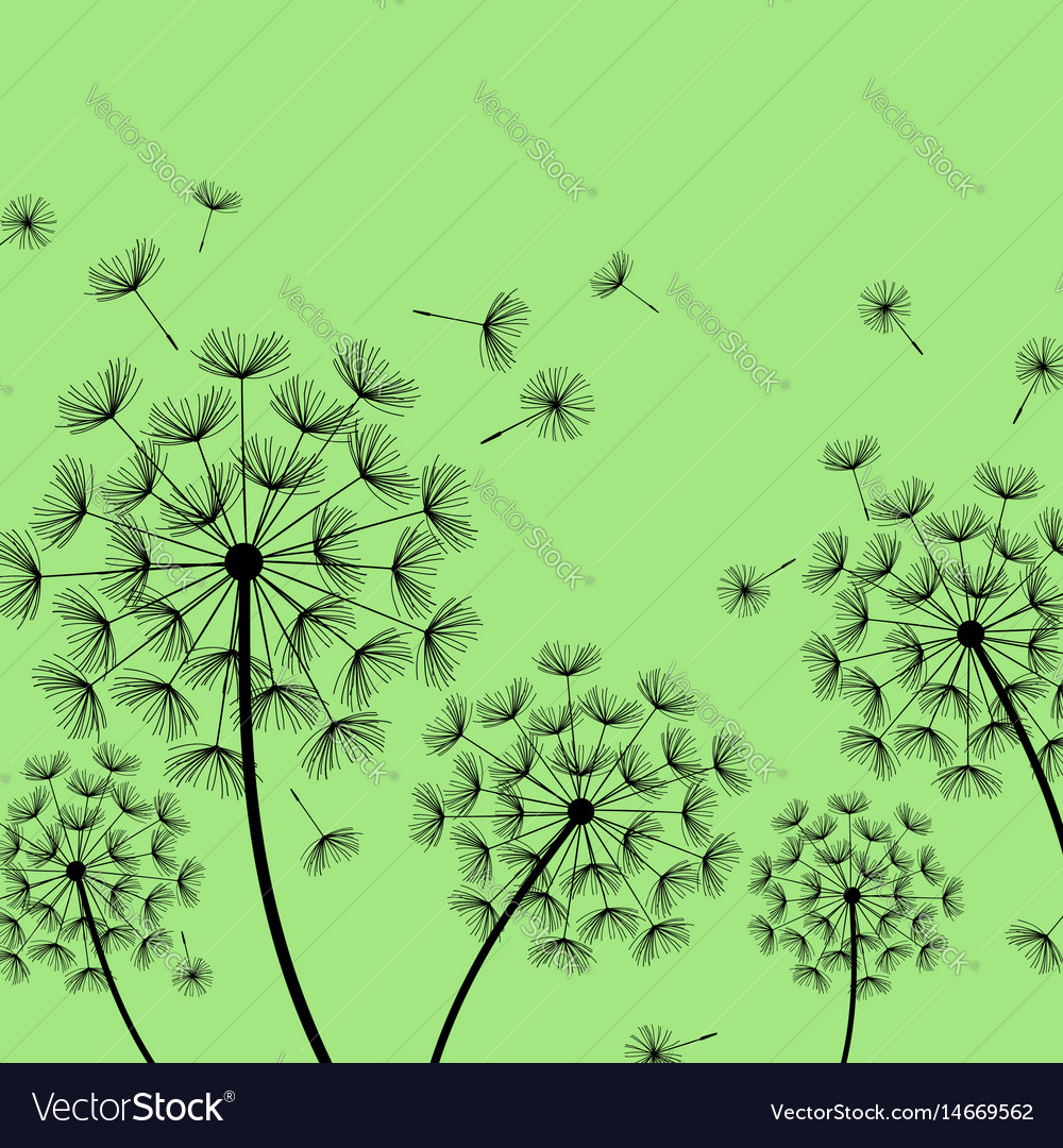 Green background with stylized black dandelion
