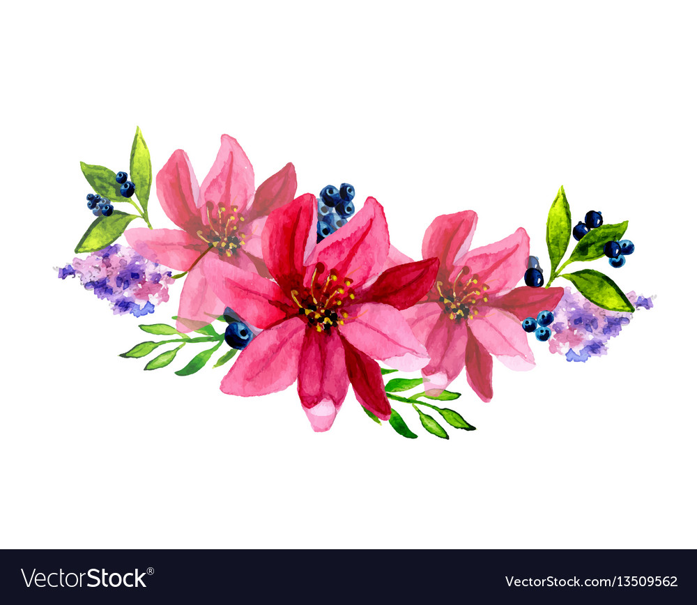 Hand Painted Watercolor Floral Bouquet Royalty Free Vector