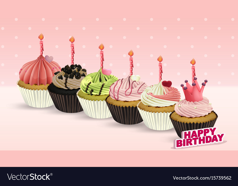 Happy Birthday Card With Cupcakes And Candles Vector Image